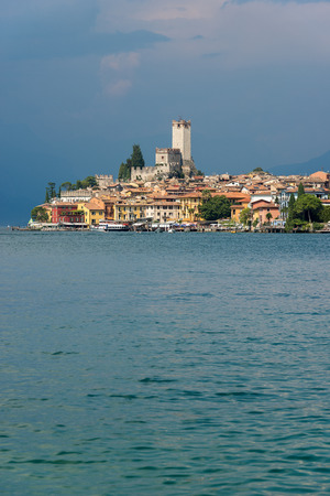 Cityscape of the ancient small town of Malcesine on the Garda Lake coast. Veneto, Verona, Italy, Europe Stock Photo
