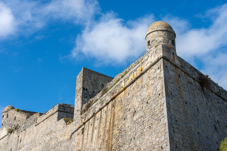 Detail of the Doria Castle (1164-XIX century) with a sentry box on a clear blue sky, in Porto Venere or Portovenere town (UNESCO world heritage site), Liguria, Italy, Europe