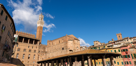 The Torre del Mangia 87 m. in the market square (Tower of Mangia) 1348. Ancient city of Siena - Toscana (Tuscany) - Italy - Europe