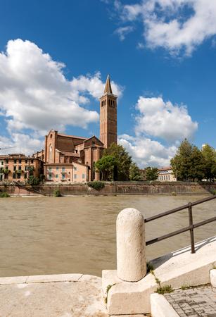 The church of St. Anastasia (1290-1471) and Adige river in Verona, Veneto, Italy, Europe Stock Photo