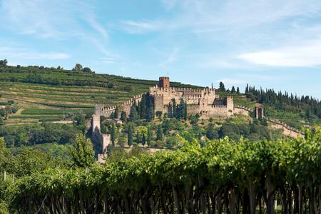 The Scala family castle (Scaligero) of the small town of Soave, X Century, Veneto, Verona, Italy, Europe 에디토리얼