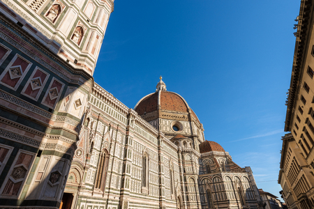 The Cathedral of Santa Maria del Fiore (1296-1436) and Bell Tower Giotto (84,70 m.) in Florence. Tuscany - Italy - Europe Banco de Imagens