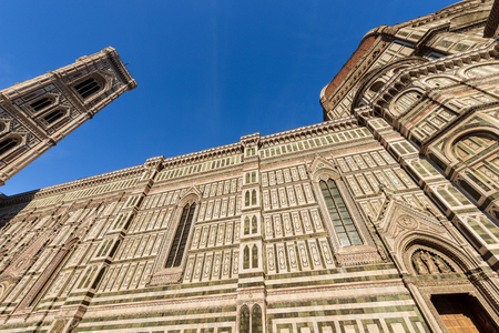 The Cathedral of Santa Maria del Fiore (1296-1436) and Bell Tower Giotto (84,70 m.) in Florence