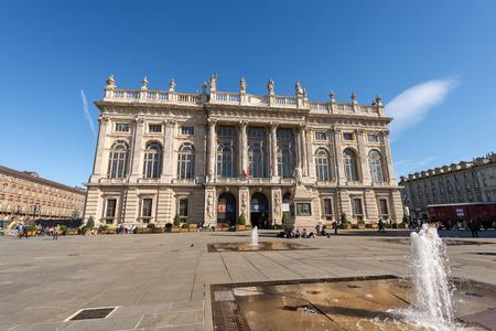 TURIN, ITALY - APRIL 2, 2015: The Palazzo Madama (Madama Palace) 1718 - 1721 in Piazza Castello (Castle square), Turin (Torino) Piemonte, Italy.