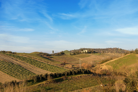 Hills in winter near Monteriggioni, Siena, Toscana (Tuscany), Italy, Europe