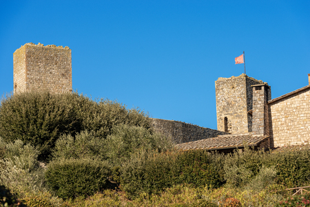 Detail of fortified town of Monteriggioni, ancient medieval village near Siena, Toscana (Tuscany), Italy, Europe