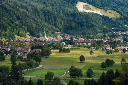 Cityscape of the small town of Pinzolo in Rendena valley. Trentino Alto Adige, Italy, Europe