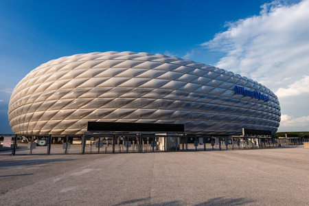 MUNICH, GERMANY - SEPT 7, 2018: Allianz Arena (Fussball Arena Munchen, Schlauchboot), the home football stadium for FC Bayern Munich. Widely known for its exterior of inflated ETFE plastic panels. Editorial