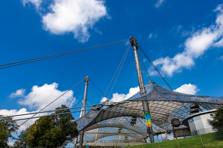 MUNICH, GERMANY - SEPT 8, 2018: The roof of the Munich Olympic Stadium (Munchner Olympiastadion 1972) in the Olympic Park (Olympiapark), Bavaria, Germany, Europe