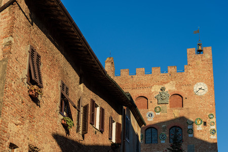 Detail of the Praetorian Palace (Palazzo Pretorio) in the ancient and medieval town of Certaldo Alto