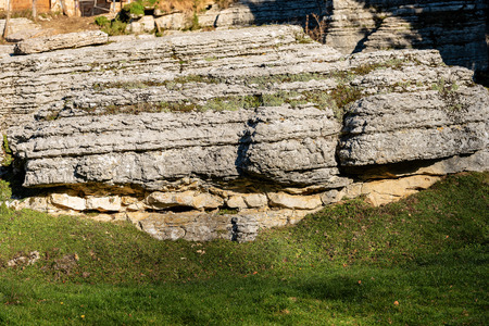 Limestone Monolith - Unusual karst erosion formation in the Regional Natural Park of Lessinia (Valle delle Sfingi), Veneto, Verona, Italy, Europe