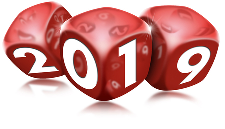 3D  of three red dice with the number 2019 and reflections. New year concept.
