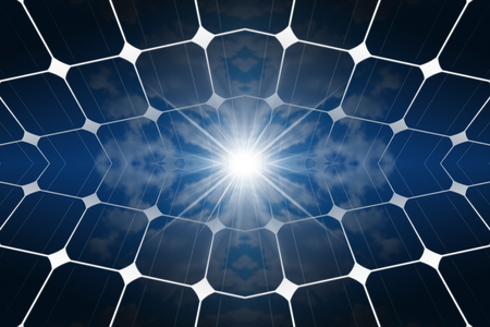 3D illustration of Solar Panels (photovoltaic panels) with the reflection of a blue sky with clouds and sun rays