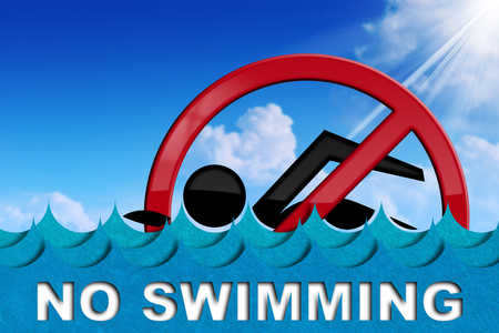 No swimming - 3D illustration of a danger sign with a swimmer, sea waves and a blue sky with clouds and sun rays