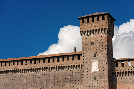Sforza Castle XV century (Castello Sforzesco) in Milan, Lombardy, Italy with Tower of Bona (Torre di Bona di Savoia 1476) 写真素材