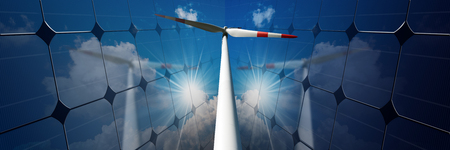 White and red wind turbine between two solar panels with reflections of a blue sky, clouds and sun rays - Renewable energy concept
