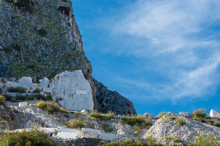 Marble quarry (Carrara white marble) in the Apuan Alps (Alpi Apuane). Tuscany, Italy, Europe