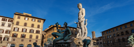 Detail of the fountain of Neptune, Roman God (Bartolomeo Ammannati 1560-1565) Piazza della Signoria, in Florence, Italy, Europe Stock Photo