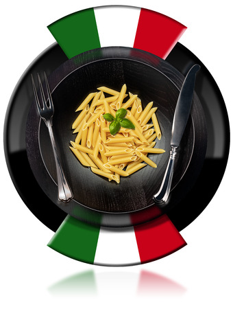 Round symbol with a dish of Italian Pasta called Penne or Macaroni and two flags.