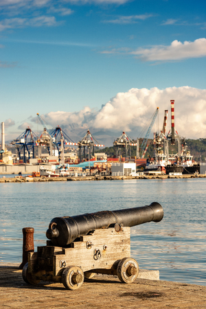 Ancient naval cannon (1819) in the port of La Spezia - Liguria - Italy - Europe