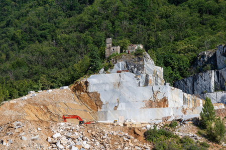 Quarry of white Carrara Marble in the Apuan Alps. Tuscany, Italy, Europe