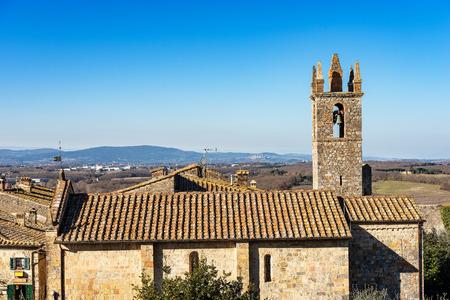 Church of Santa Maria Assunta (XIII century) in the ancient medieval village of Monteriggioni, Siena, Tuscany, Italy, Europe