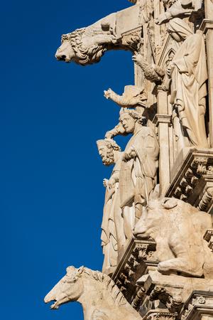 Detail of the facade of the Siena Cathedral, Santa Maria Assunta 1220-1370. Tuscany, Italy, Europe