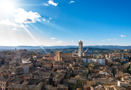 Siena Cityscape with the Cathedral, Santa Maria Assunta 1220-1370. Tuscany, Italy, Europe