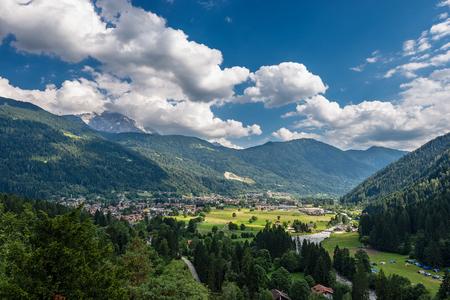 The small town of Pinzolo in Rendena valley (Val Rendena). Trentino Alto Adige, Italy, Europe Stock Photo
