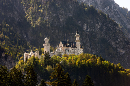Neuschwanstein Castle (New Swanstone Castle - Schloss Neuschwanstein XIX century), landmark in the Bavarian Alps, Germany. One of the most visited castles in Europe