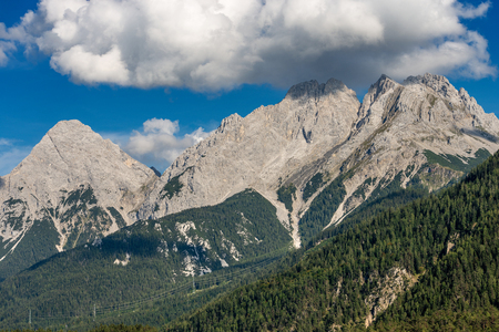 Mieming Range or Mieminger Mountains with the Ehrwalder Sonnenspitze (Mountain peak on the left, 2417 m), eastern Alps, Tyrol state, Austria, Europe