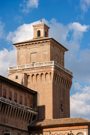 Detail of Estense Castle or Castle of San Michele (1385) with the a tower. Is a moated medieval castle in the center of Ferrara, Emilia-Romagna, Italy, Europe