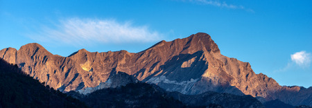 The Apuan Alps with the famous marble quarries, Carrara white marble. Tuscany, Italy, Europe