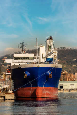 Large ship seen from the front in the port. Gulf of La Spezia, Liguria, Italy, Europe Stock Photo