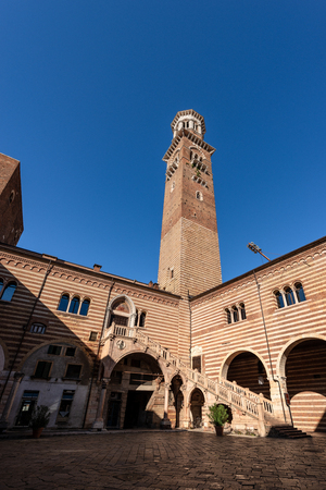 Torre dei Lamberti, medieval tower (XI century - 84 m) in Verona, UNESCO world heritage site. Veneto, Italy, Europe