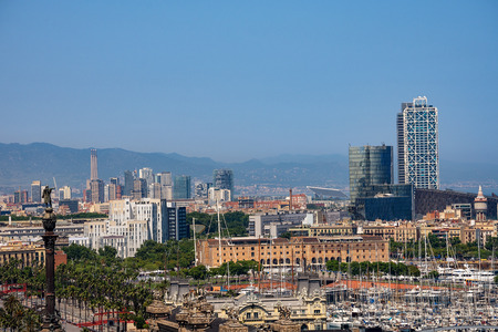 Cityscape of Barcelona Spain. Aerial view from Montjuic hill with the Port Vell and the column of Christopher Columbus. Catalonia, Europe Stock Photo