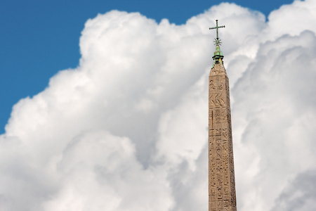 Flaminio Obelisk, built by the Egyptians in the XIIth century BC, Piazza del Popolo, Rome