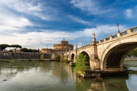 Rome - Castel Sant'Angelo or Mausoleo di Adriano with the ancient bridge and Tiber River.