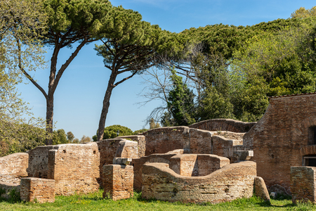 Ancient Roman buildings. Ostia Antica, Roman colony founded in the 7th century B.C.