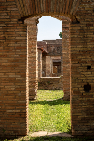Detail of ancient Roman buildings in Ostia Antica, Roman colony founded in the 7th century BC.