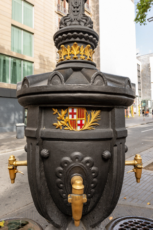 Font de Canaletes with the coat of arms of Barcelona, XIX century. Reklamní fotografie