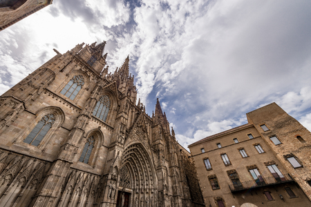 Facade of Barcelona Cathedral in gothic style, the Holy Cross and Saint Eulalia (Catedral de la Santa Cruz y Santa Eulalia). Reklamní fotografie