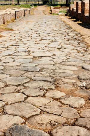 Ancient Roman road in Ostia Antica