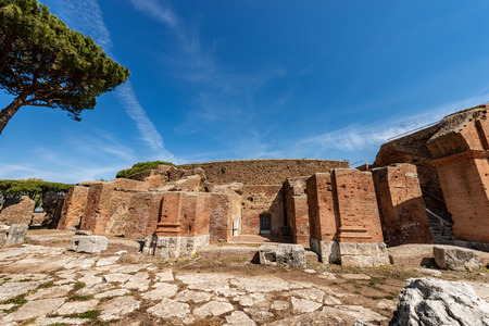 Exterior of the Roman Theatre in Ostia Antica, Roman colony founded in the 7th century B.C