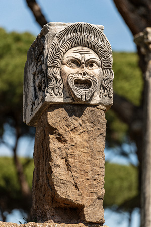 Theater mask from the decoration of the amphitheater in Ostia Antica, Roman colony founded in the 7th century BC.