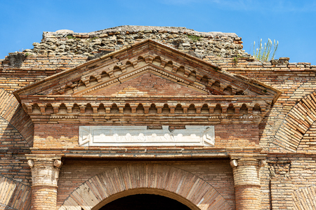Detail of ancient Roman store building in Ostia Antica