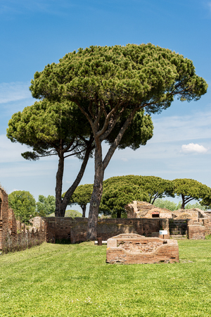 Old Roman ruins of Ostia Antica, colony founded in the 7th century BC.