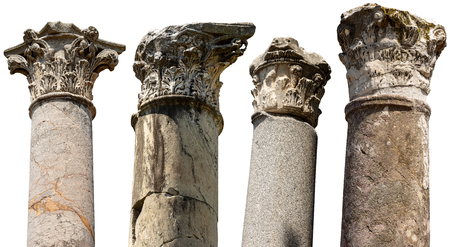 Collection of columns with capitals in Corinthian style isolated on white