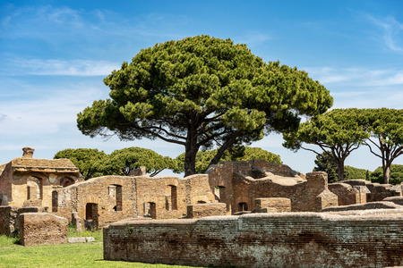 Ancient Roman buildings. Ostia Antica, Roman colony founded in the 7th century BC.