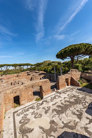Ancient Roman thermal baths of Neptune with mosaic floors in Ostia Antica, Roman colony founded in the 7th century BC.